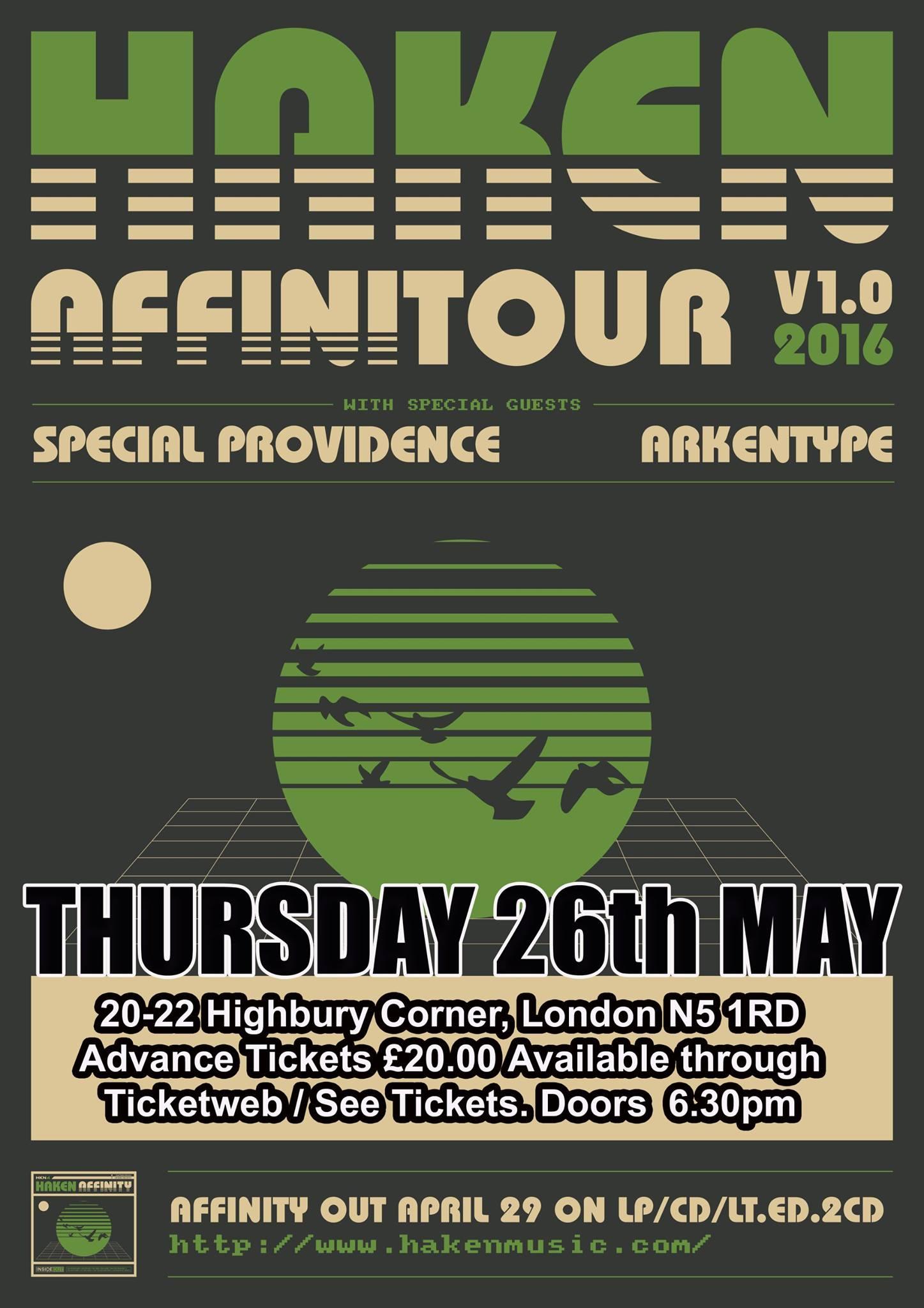 Haken Special Providence Arkentype London Thursday 26th May